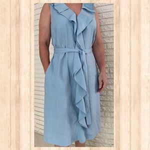 Talbots sleeveless v-neck linen ruffle dress Sz 10